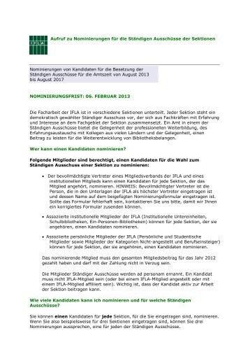 Aufruf zu Nominierungen für die Ständigen Ausschüsse der ... - IFLA