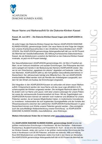 Neuer Name und Markenauftritt für die Diakonie-Kliniken Kassel