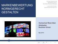 Wiesbaden Business School, Mai 2013 - Konzept und Markt