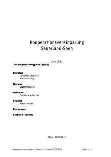 """Entwurf """"Kooperationsvereinbarung Sauerland-Seen"""" - Attendorn"""