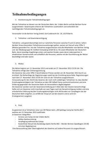 Teilnahmebedingungen - Berliner Zeitung