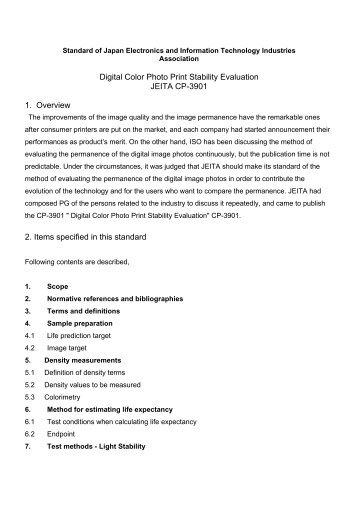 Digital Color Photo Print Stability Evaluation JEITA CP ... - JEITA Home