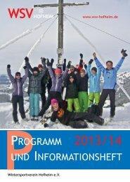 PPROGRAMM 2013/14 UND INFORMATIONSHEFT - WSV Hofheim