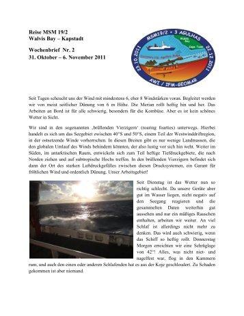 Reise MSM 19/2 Walvis Bay – Kapstadt Wochenbrief Nr. 2 31. Oktober