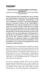 Pressemeldung Zukunfts-Chancen bei Nachhaltigkeit und Property ...