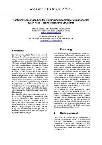 N e t w o r k s h o p  2 0 0 3 - Institut für Nachrichtentechnik