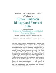Nicolai Hartmann, Biology, and Forms of Life - Institute for Formal ...