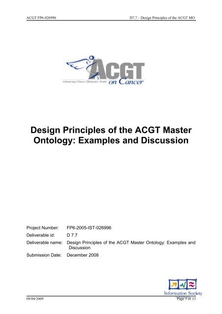 Design Principles of the ACGT Master Ontology - Institute for Formal ...