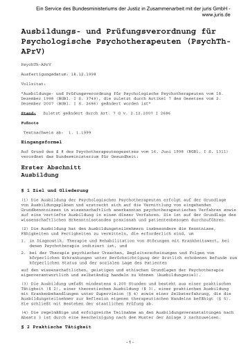 Ausbildungs- und Prüfungsverordnung für Psychologische ...