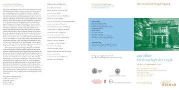 Internationale Hegel-Tagung 200 Jahre Wissenschaft der Logik