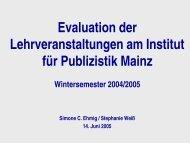Evaluation der Lehrveranstaltungen am Institut für Publizistik Mainz