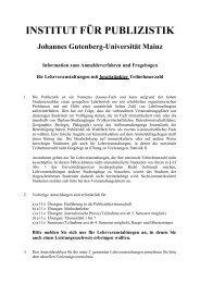Institut für Publizistik - Johannes Gutenberg-Universität Mainz