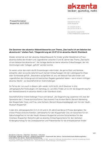 """Die Gewinner des akzenta-Malwettbewerbs zum Thema """"Das kaufe ..."""