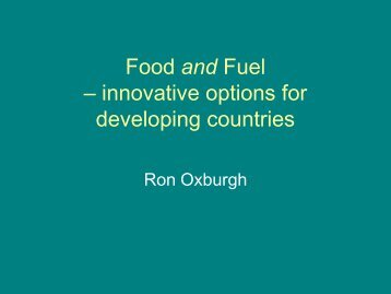energy: Innovative Options for Developing Countries - Lord Oxburgh