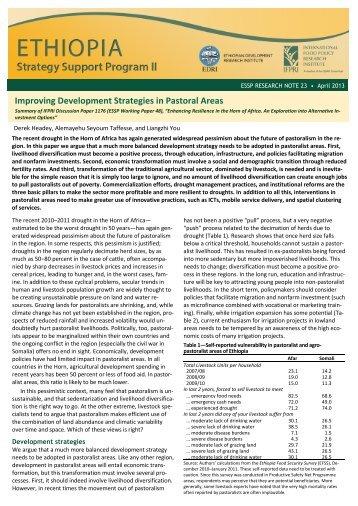 Improving Development Strategies in Pastoral Areas - International ...
