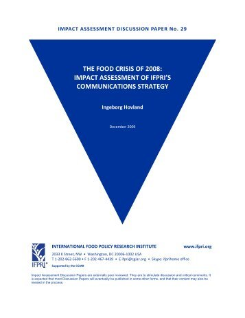 Impact Assessment of IFPRI's Communications Strategy