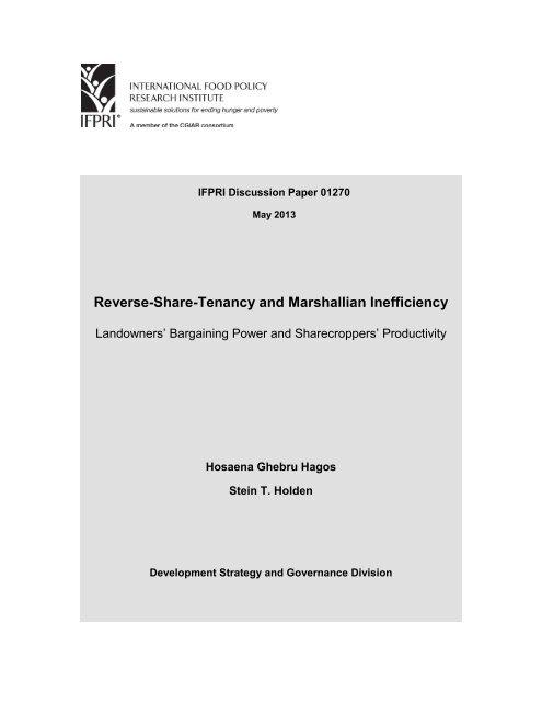 Reverse-Share-Tenancy and Marshallian Inefficiency - International ...