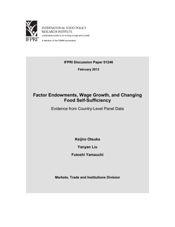 Factor Endowmwnts, Wage Growth, and Changing Food Self ...