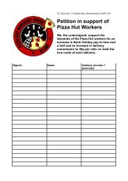 Petition in support of Pizza Hut Workers - Indymedia London