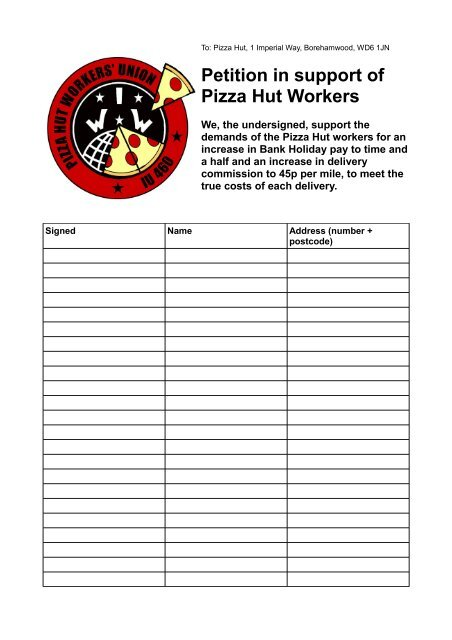 Petition In Support Of Pizza Hut Workers Indymedia London