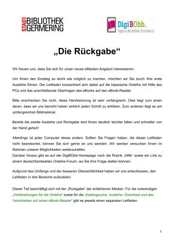 Onleihe Leitfaden 3 - Rückgabe Step-by-Step