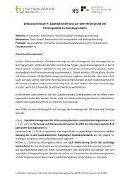 Diskussionsforum 4: Qualitätssicherung vor dem Hintergrund der ...