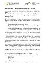 Diskussionsforum 3: Gemeinsam Schulleben im Ganztag gestalten - IFS