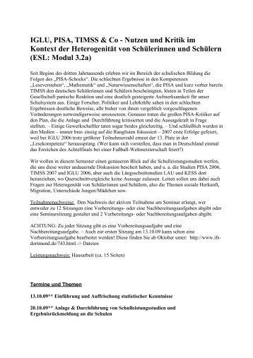 IGLU, PISA, TIMSS & Co - Nutzen und Kritik im Kontext der ... - IFS