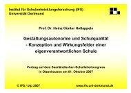 Gestaltungsautonomie und Schulqualität - Konzeption und ... - IFS