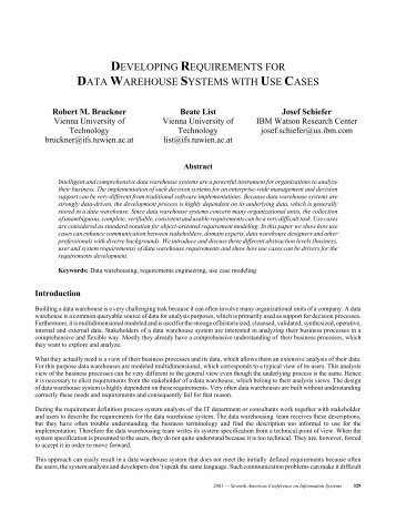 developing requirements for data warehouse systems ... - CiteSeerX