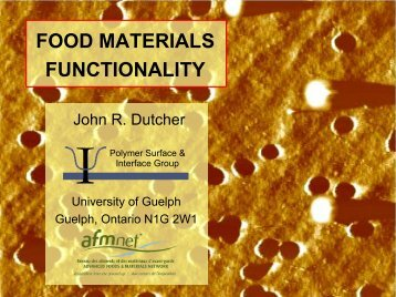 FOOD MATERIALS FUNCTIONALITY - Institute of Food Technologists
