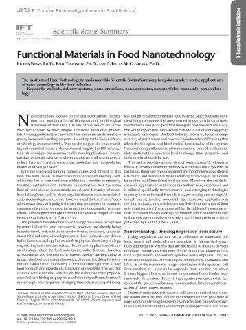 Functional Materials in Food Nanotechnology - Institute of Food ...