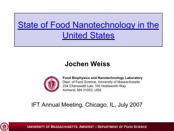 Nanotechnology Applications Emerging in the Food Industry