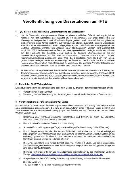 dissertation veröffentlichen vdi verlag
