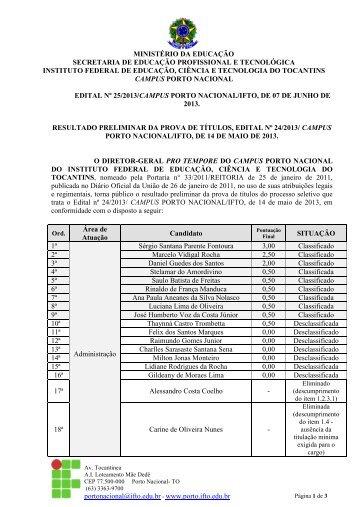 Edital nº 25-2013 - Resultado Preliminar Prova de títulos- 06 ... - IFTO