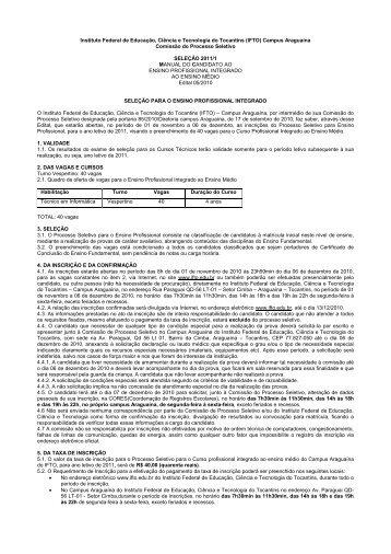Edital Cursos Técnicos Médio Integrado - IFTO
