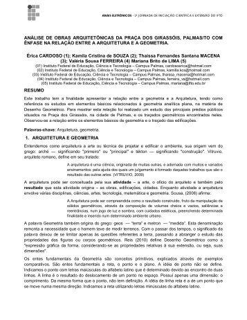 análise de obras arquitetônicas da praça dos girassóis ... - IFTO