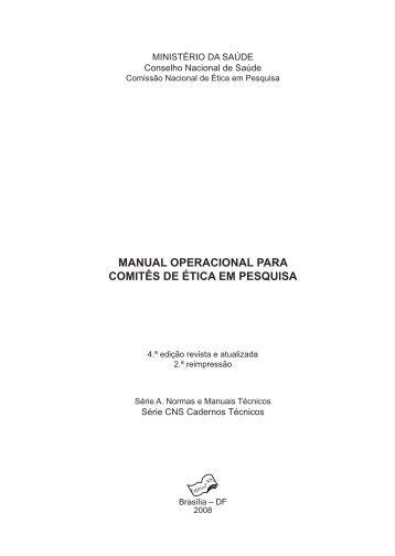manual operacional para comitês de ética em pesquisa - Conselho ...