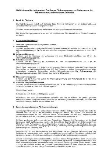 Richtlinien zur Durchführung des Burghauser ... - Stadt Burghausen