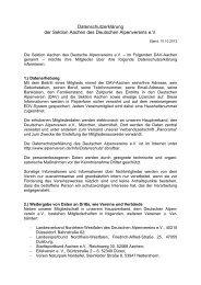 Datenschutzerklärung im Rahmen einer Vereinssatzung: - Aachen