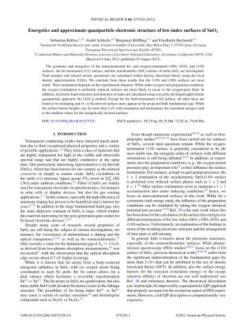 Energetics and approximate quasiparticle electronic structure of low ...