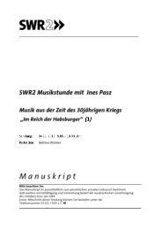 SWR2 Musikstunde Musik aus der Zeit des 30jährigen Kriegs