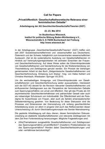 """Call for Papers """"Privat/öffentlich: Gesellschaftstheoretische ... - DVPW"""