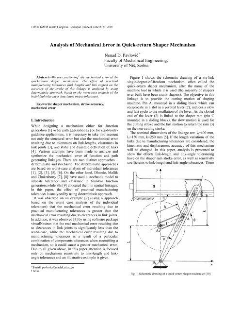 Analysis of Mechanical Error in Quick-return Shaper     - IFToMM