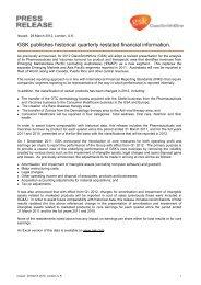 GSK publishes historical quarterly restated financial information.