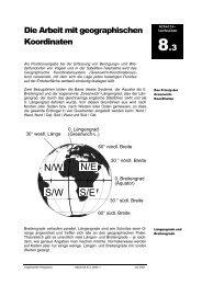 Die Arbeit mit geograph. Koordinaten 8-3