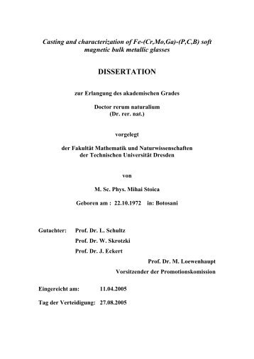 (P,C,B) soft magnetic bulk metallic glasses DISSERTATION