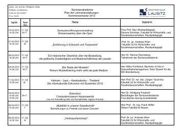 Seniorenakademie Plan der Lehrveranstaltungen ... - IfW