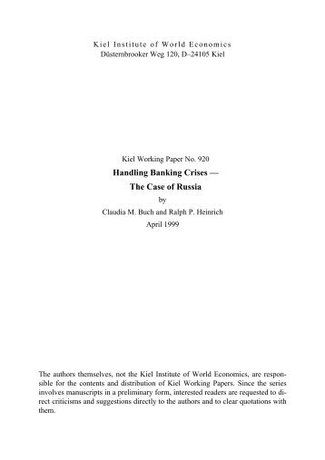Handling Banking Crises — The Case of Russia