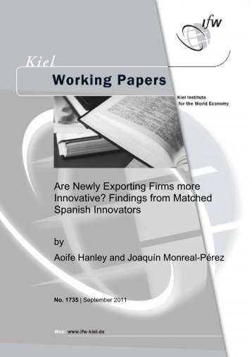 Are Newly Exporting Firms more Innovative? Findings from Matched ...